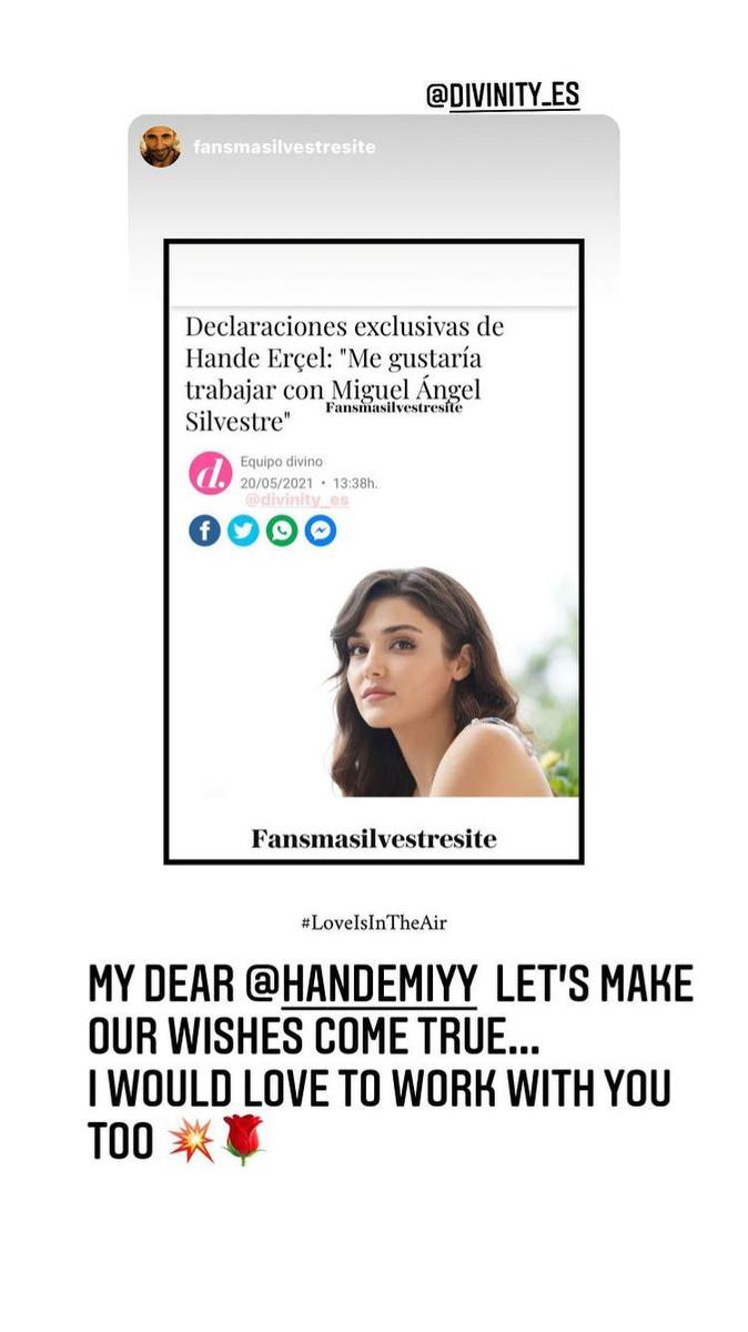 La respuesta de Miguel Ángel Silvestre a Hande Erçel en redes sociales
