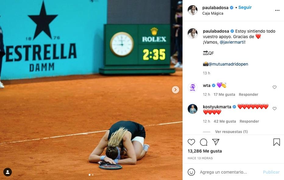 Post de Paula Badosa tras el partido que la llevó a cuartos