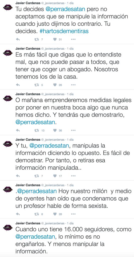 Captura de tuits de Cárdenas amenazando a una tuitera por hacerse eco de lo que dijo otra de su programa