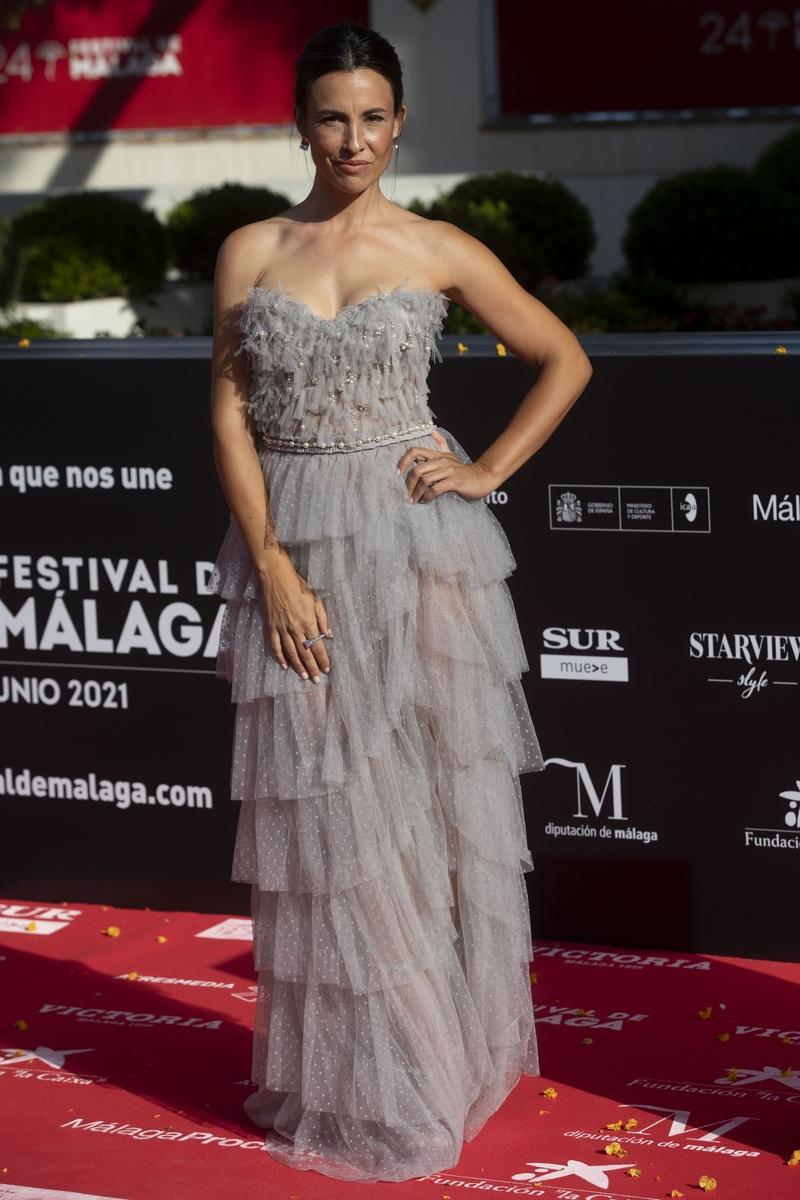Xenia Tostado en la alfombra roja del 24 festival de cine de Málaga