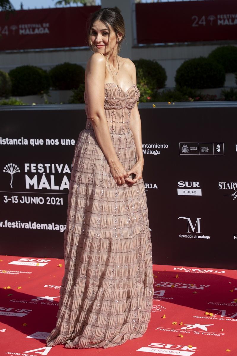 Elena Ballesteros en la alfombra roja del 24 festival de cine de Málaga