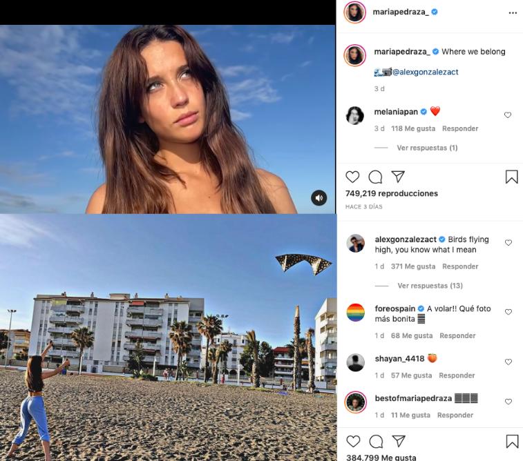 Post de Instagram que hacen sospechar que Álex González y María Pedraza están juntos