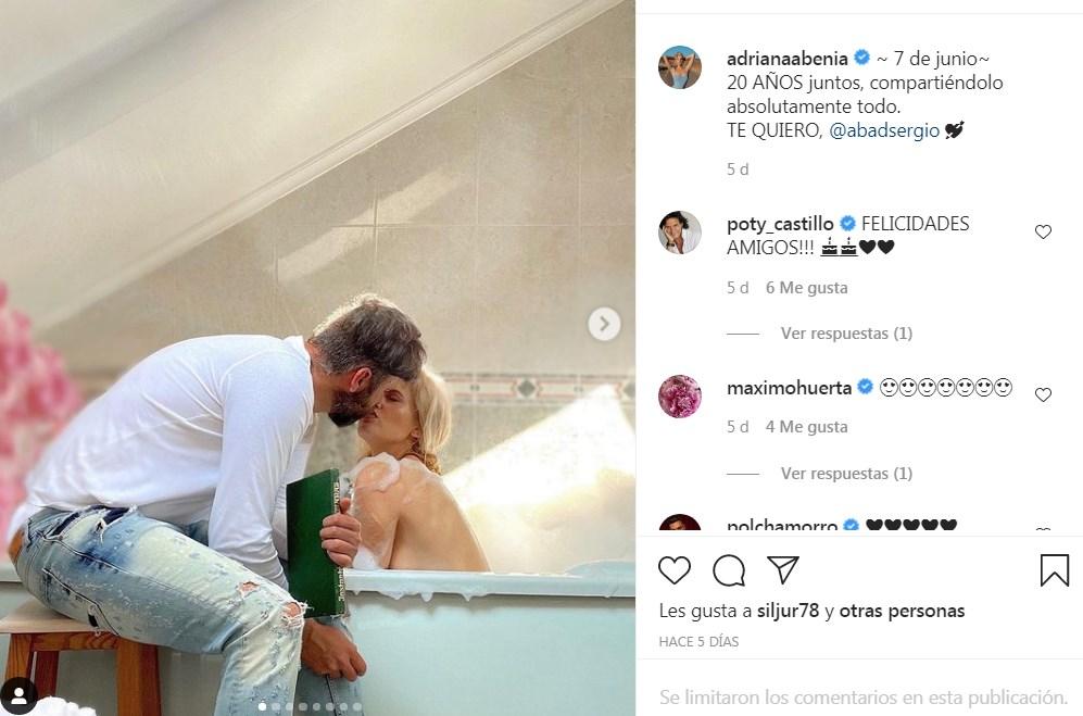 Adriana Abenia celebra aniversario con Sergio Abad