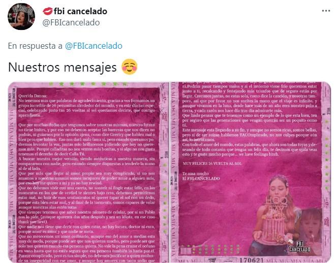 Danna Paola comparte regalo de fans en su cumpleaños