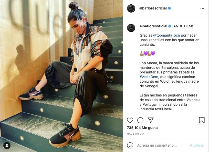 El lado solidario de Alba Flores ha vuelto a emerger con la difusión de esta marca de zapatillas