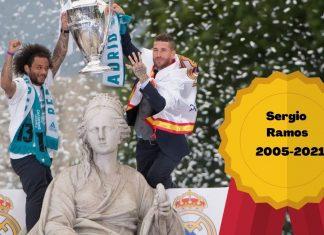 Sergio Ramos se va del Madrid con un palmarés inmenso, como las cuatro champions que indica en esta foto con Marcelo