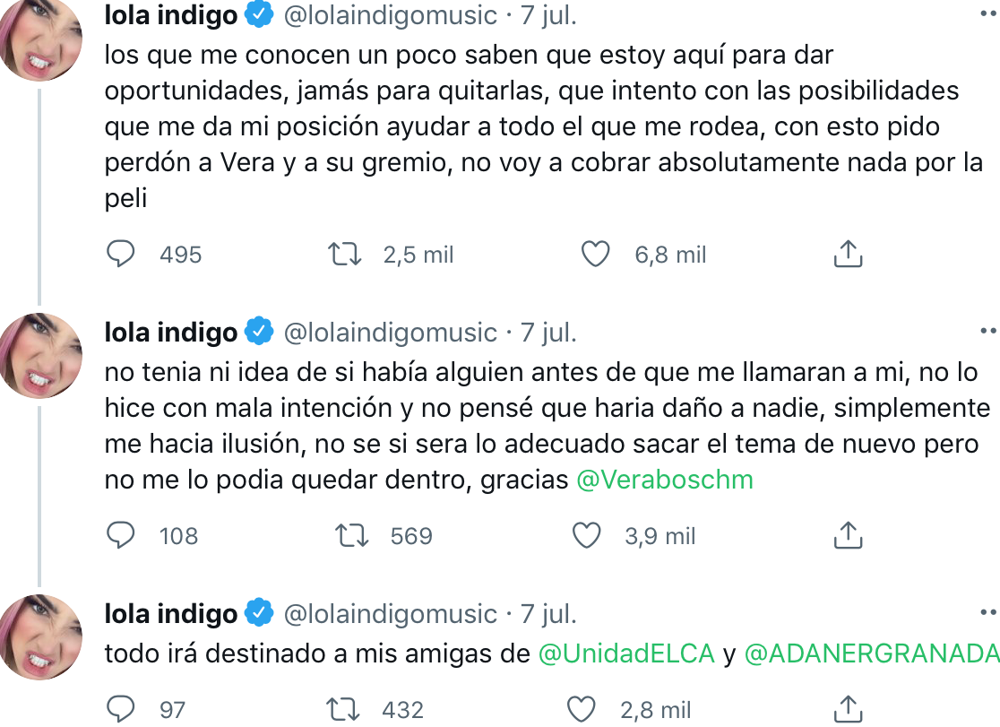 Lola Índigo pide perdón
