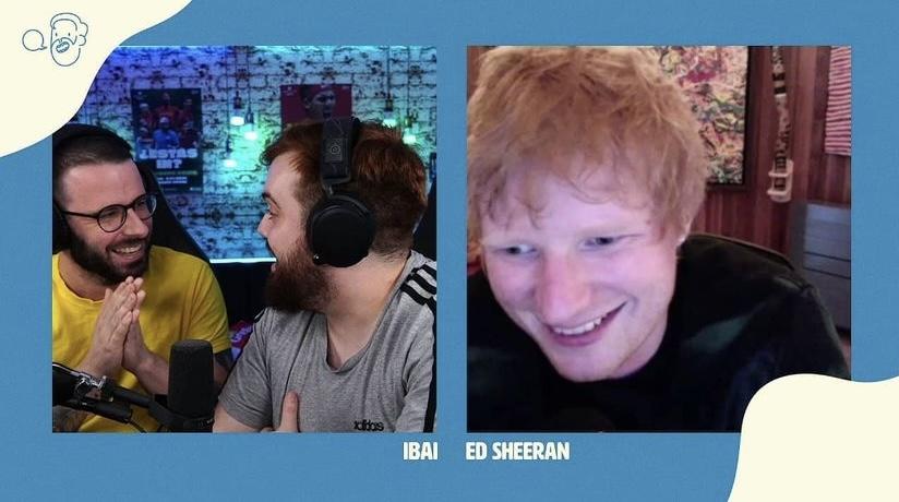 Ibai y Ed Sheeran charlando tranquilamente