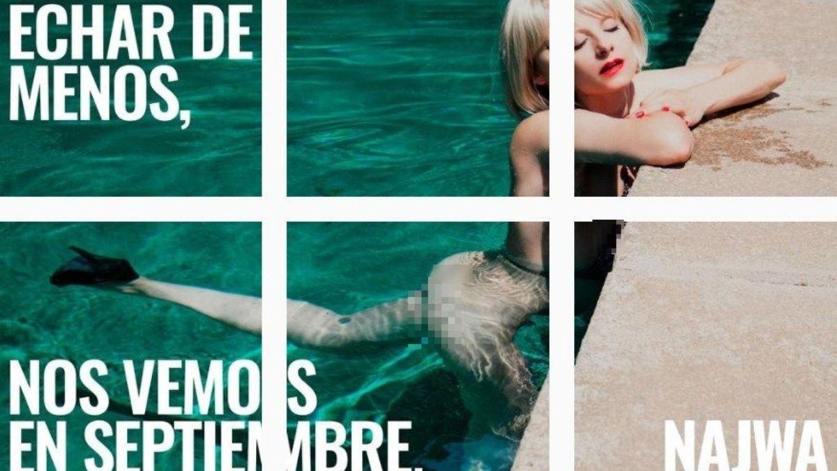 Najwa Nimri desnuda en la piscina Instagram en llamas