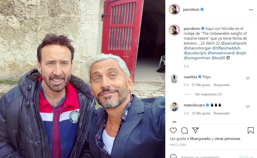 Paco León comparte foto con Nicolas Cage y anuncia fecha de estreno de película juntos