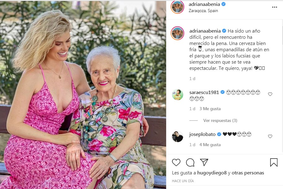 Reencuentro de Adriana Abenia con su abuela en Zaragoza