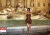 Kim Kardashian en Roma delante de la fontana di Trevi