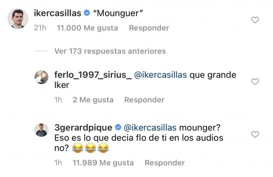 Respuesta de Piqué a Casillas en Instagram