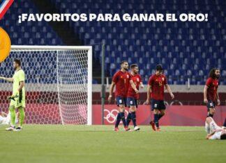 La selección española de fútbol en Tokio en el partido de ayer contra Argentina