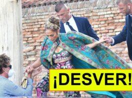 Jennifer Lopez subiendo a un barco en Venecia