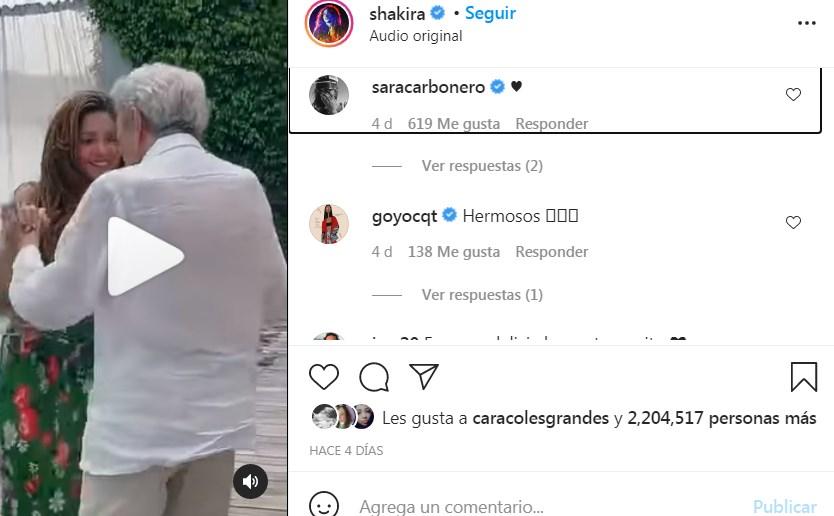 Shakira baila con su padre en su cumpleaños 90 y le escribe la mejor carta de felicitación