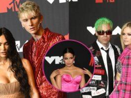 Megan y Machine Gun Kelly, Camila Cabello y Mod Sun con Avril Lavigne, en la alfombra roja de los VMA 2021
