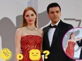 Oscar Isaac y Jessica Chastain; debajo, el momento en el que el sobaco de Jessica Chastain pasa a ser objeto de deseo del actor.
