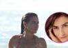 belen lopez en bikini en la playa y posada para masterchef a la derecha