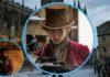 El protagonista en el centro y a la izquierda, una de las fotos exclusivas de Timothée Chalamet rodando Wonka. Al fondo, los exteriores donde se estuvo rodando