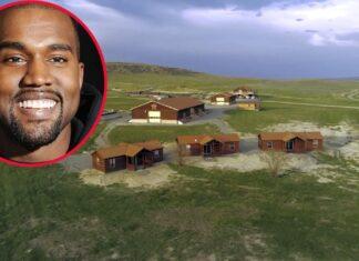 Panorámica del rancho en el que Kanye West vivió su divorcio y que ahora vende, y el cantante en una foto aparte.