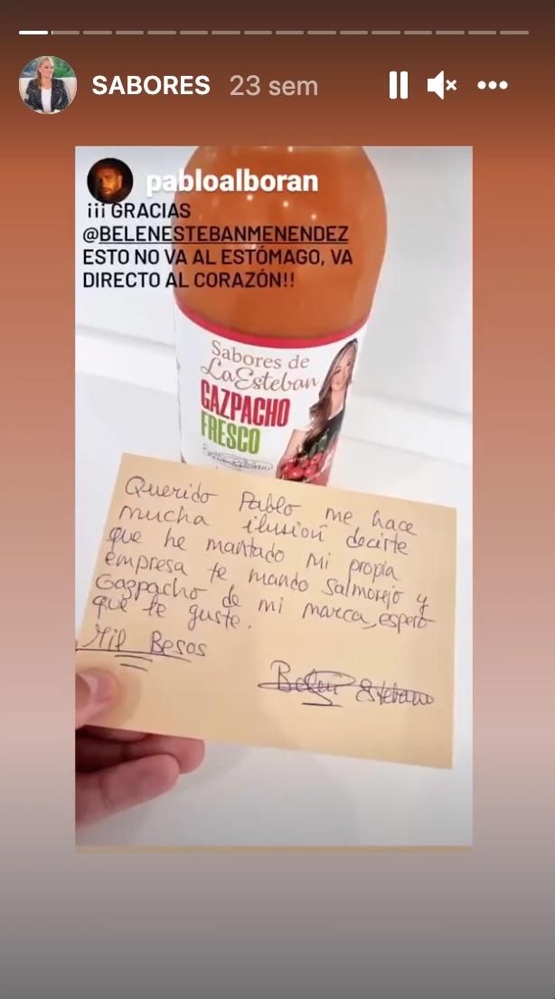 Story de Pablo Alborán mostrando el gazpacho de Belén Esteban