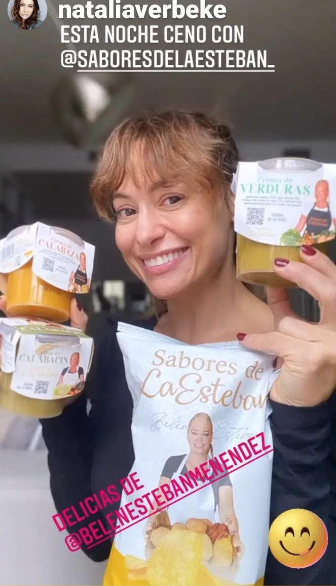 Natalia Verbeke anunciando los productos de Belén Esteban en su instagram